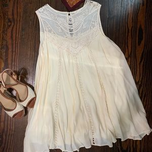 Flowy Cream Dress with Lace Detailing